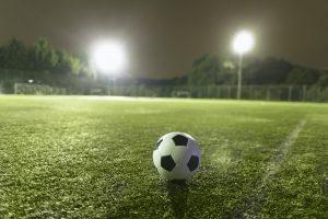 Soccer ball on sports field